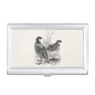 Vintage Quail Birds - Personalized Retro Game Bird Business Card Case