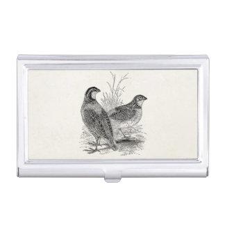 Vintage Quail Birds - Personalized Retro Game Bird Business Card Holder