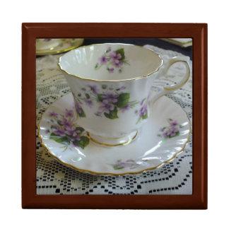 Vintage Queen Anne Violets Tea Cup Box Large Square Gift Box