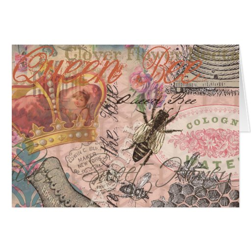Vintage Queen Bee Beautiful Girly Collage Greeting Card