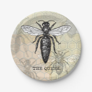 Vintage Queen Bee Illustration 7 Inch Paper Plate
