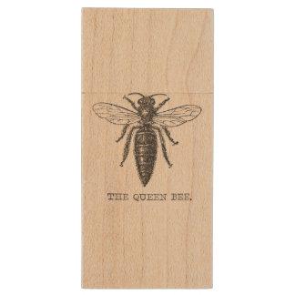 Vintage Queen Bee Illustration Wood USB 2.0 Flash Drive