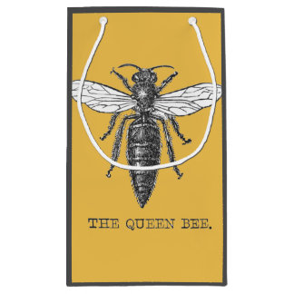 Vintage Queen Bee Illustration Small Gift Bag