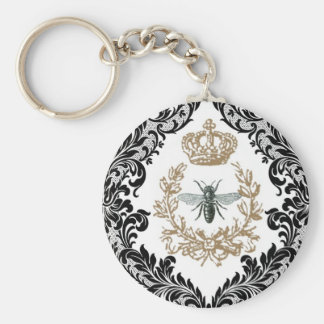Vintage Queen Bee...keychain Basic Round Button Key Ring