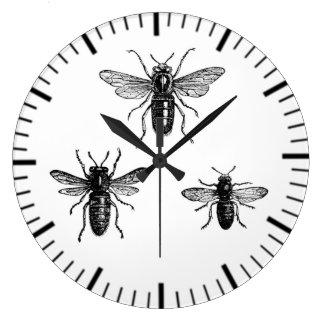 Vintage Queen Bee & Working Bees Illustration Large Clock
