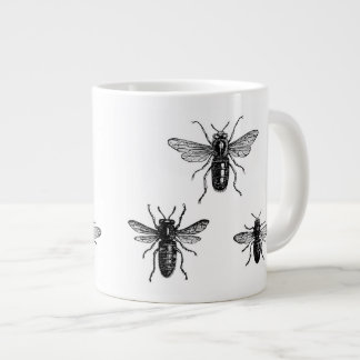 Vintage Queen Bee & Working Bees Illustration Large Coffee Mug