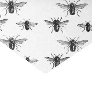 Vintage Queen Bee & Working Bees Illustration Tissue Paper