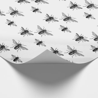 Vintage Queen Bee & Working Bees Illustration Wrapping Paper