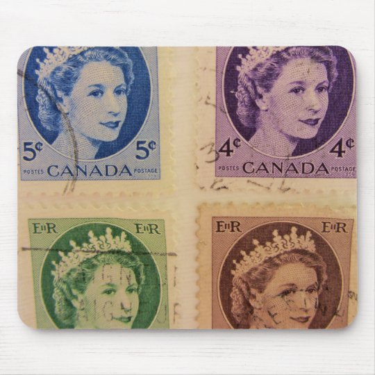 Vintage Queen Royal Postage Stamps Mousepad