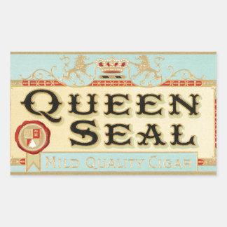 Vintage Queen Seal Cigar Label Rectangular Sticker