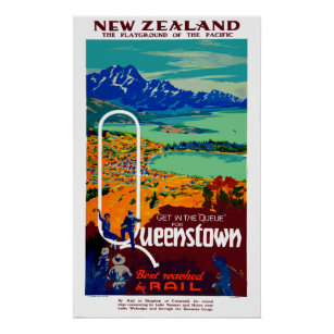 Queenstown posters prints zazzle uk vintage queenstown new zealand travel poster reheart Gallery