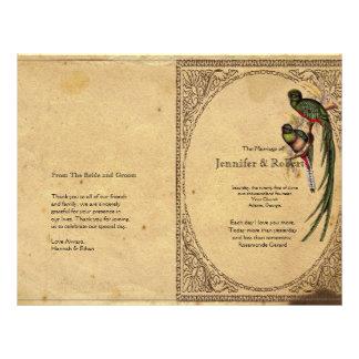 Vintage Quetzal Bird Elegant  Wedding Program 21.5 Cm X 28 Cm Flyer