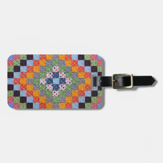 Vintage Quilt Pattern Luggage Tag