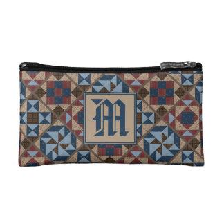 Vintage Quilt Pattern Monogram Cosmetic Case Makeup Bags