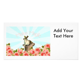 Vintage Rabbit and Roses Photo Card Template