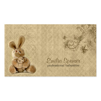 Vintage Rabbit Babysitting & Childcare Card Pack Of Standard Business Cards