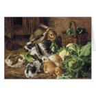 Vintage - Rabbit Family Eating Vegetables, Card