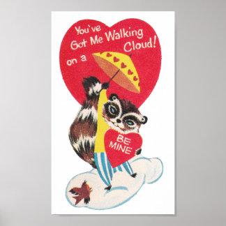 Vintage Raccoon Valentine Poster
