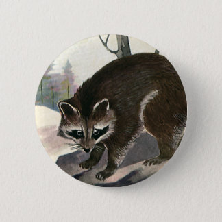 Vintage Raccoon, Wild Animal Forest Creatures 6 Cm Round Badge