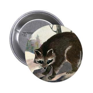 Vintage Raccoon, Wild Animal Forest Creatures 6 Cm Round Badge