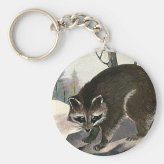Vintage Raccoon, Wild Animal Forest Creatures Key Ring