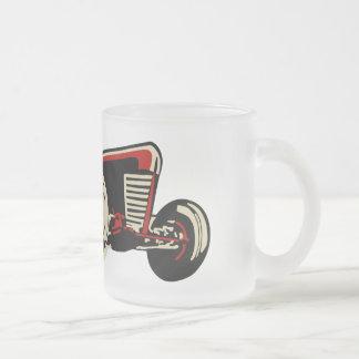 vintage racecar frosted glass mug