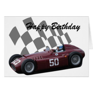 Vintage Racing Car Happy Birthday 7 Card