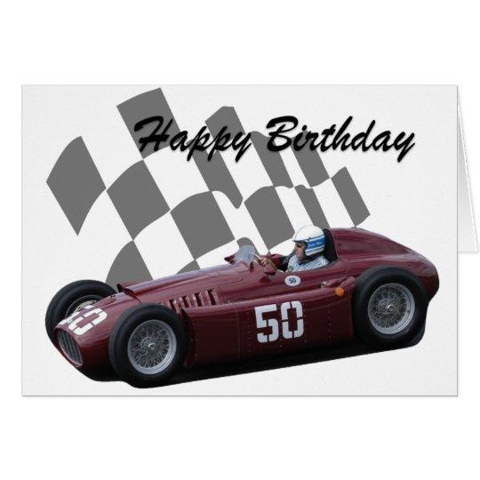 Vintage Racing Car Happy Birthday 7 Card