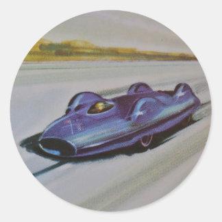 Vintage Racing Car Stickers Round Sticker