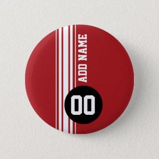 Vintage Racing Stripes - Red and Black 6 Cm Round Badge