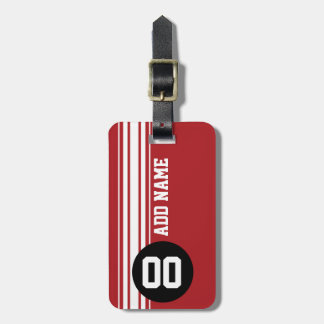 Vintage Racing Stripes - Red and Black Travel Bag Tags