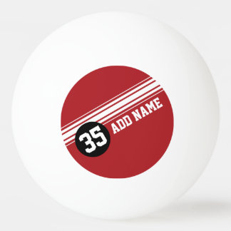 Vintage Racing Stripes - Red and Black Ping Pong Ball