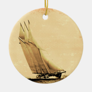 Vintage Racing Yacht Ornament