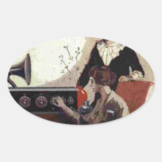 vintage radio paint 1900s oval sticker