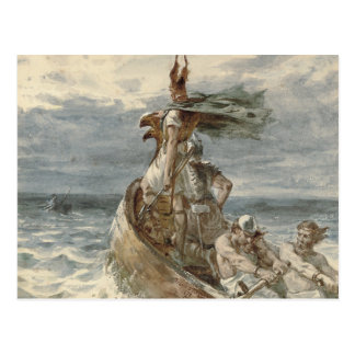 Vintage Raiding Vikings Painting (1873) Postcard