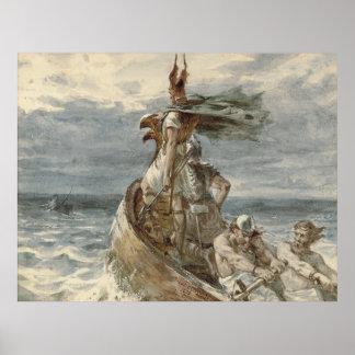 Vintage Raiding Vikings Painting (1873) Poster