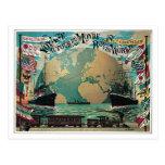 Vintage railway and sea travel world map ad postcard