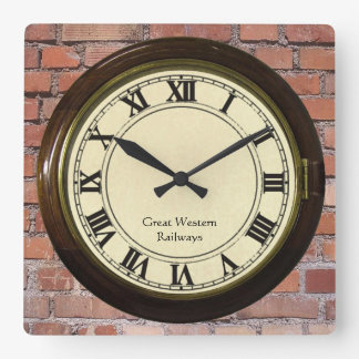 vintage railway station on brick look clock