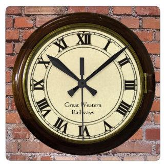 vintage railway station on brick look clock