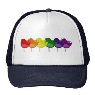 Vintage Rainbow Birds Hats