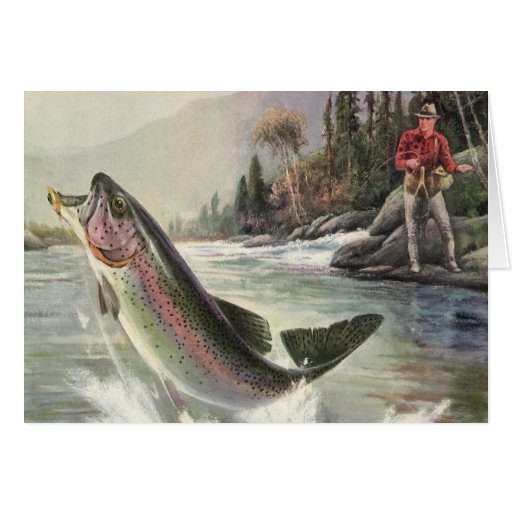 Vintage Rainbow Trout  Fish Fisherman Fishing Greeting Card