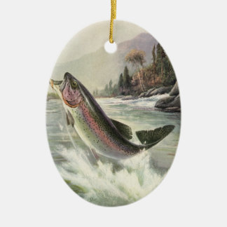 Vintage Rainbow Trout Fish, Fisherman Fishing Ceramic Oval Decoration