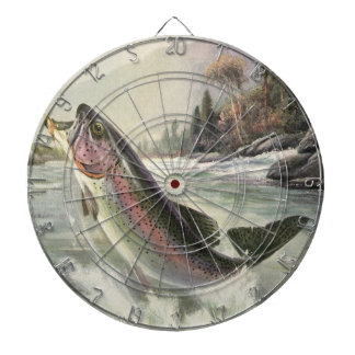Vintage Rainbow Trout Fish, Fisherman Fishing Dartboard