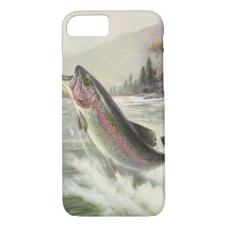 Vintage Rainbow Trout Fish, Fisherman Fishing iPhone 8/7 Case