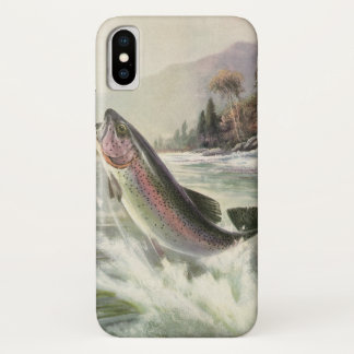 Vintage Rainbow Trout Fish, Fisherman Fishing iPhone X Case