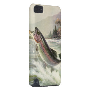 Vintage Rainbow Trout Fish, Fisherman Fishing iPod Touch 5G Covers