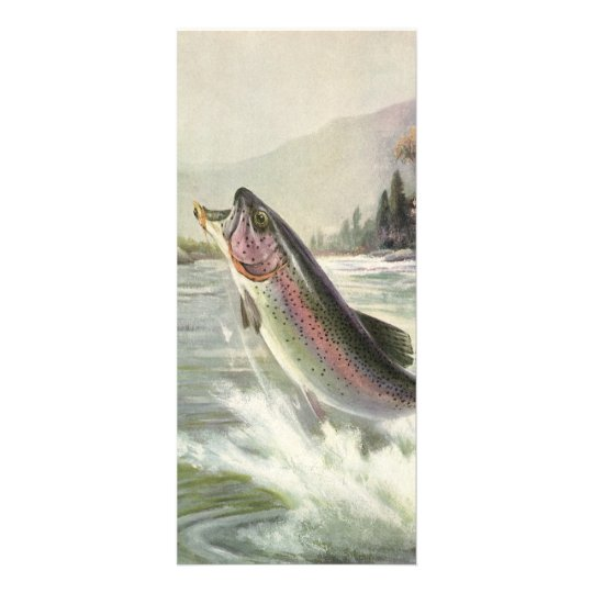 Vintage Rainbow Trout Fish, Fisherman Fishing Personalized Rack Card