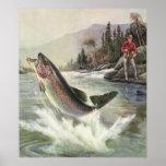 Vintage Rainbow Trout Fish, Fisherman Fishing Poster