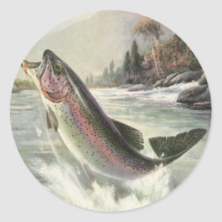 Vintage Rainbow Trout Fish, Fisherman Fishing Round Sticker
