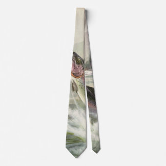 Vintage Rainbow Trout Fish, Fisherman Fishing Tie